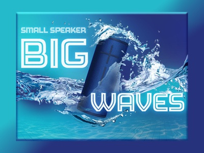 UE Boom Splash Ad concept art advertising psd mockup design adobe portable pool blue bluetooth speaker audio music splash ad