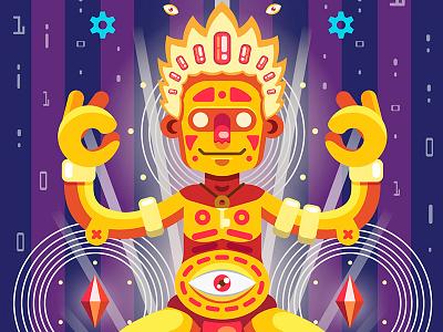 Online Yoga future internet imagination yoga character flat vector