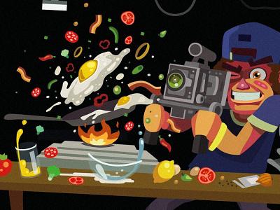 Filming Food omelette filming illustration flat food