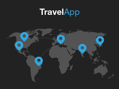 Travel App travel app application iphone mobile blue ui ux design graphic flat