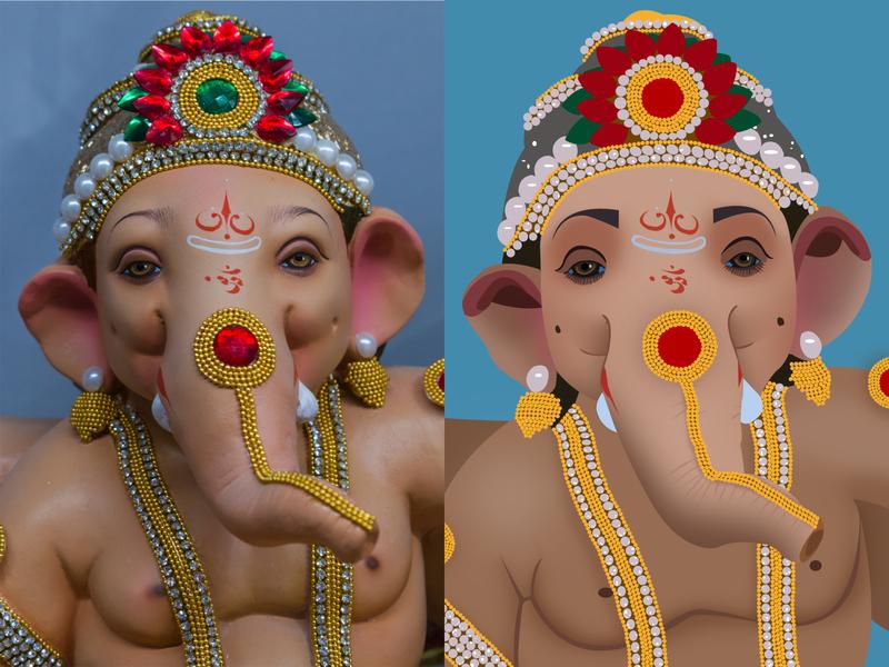 Ganpati Bappa - Photography vs Illustration drawing draw artwork artist art illustration art illustrator india vector design graphic god lord ganesha photography ganpati graphic design ganesh illustration