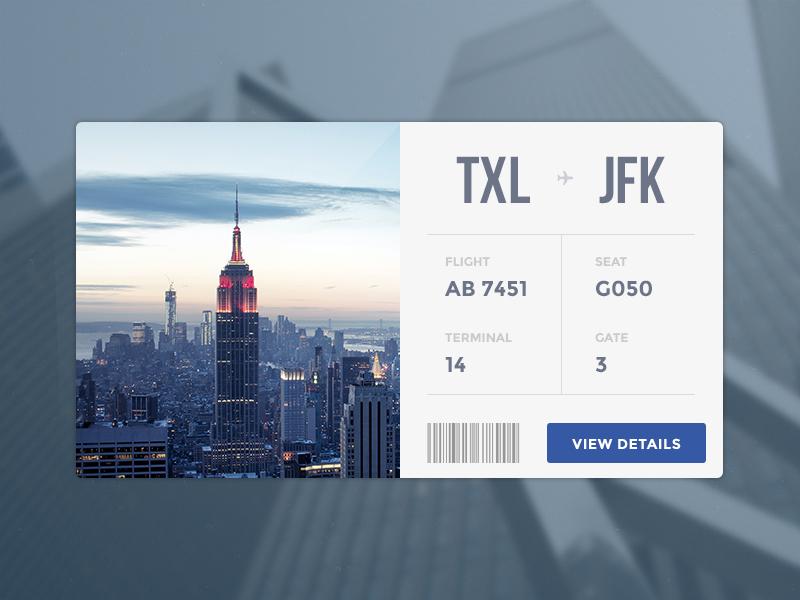 Flight Card minimal clean flight ticket new york card widget