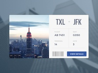 Flight Card minimal clean flight ticket new york card widget