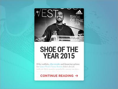 Shoe Of The Year News Card yeezy kanye card article blog ecommerce shopping news adidas