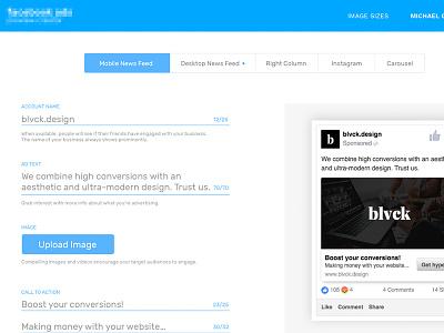 Ad Creator Backend ads social facebook google minimal slick ui backend web creator design material