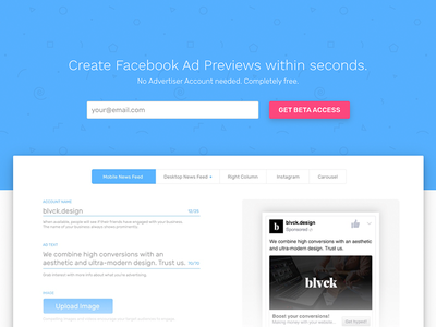 Facebook Ad Preview Creator austria pink blue material flat media social ads facebook