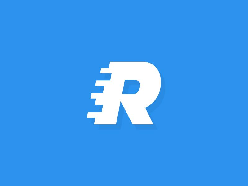"""R"" like ""Racing"" 🏎 logo design typography lettering r ui app app ui car tuning sport material racing blue"