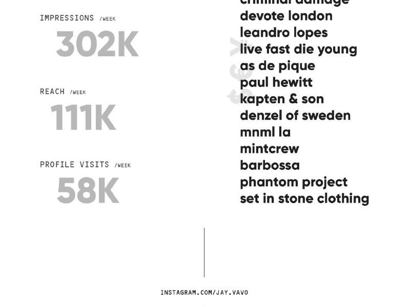 Influencer Media Kit | Instagram fear of god offwhite material austria indesign pdf print instagram ads facebook ads advertising advertisement ad impressions media kit social network social media instagram influencer marketing influencer influence
