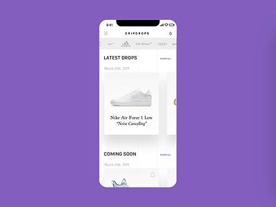 Sneaker Release App 👟 motion design purple hypebeast material design minimal austria flat app animation ux design ui design app design off white ultraboost nike air max nike adidas yeezy sneakers app sneakers sneaker