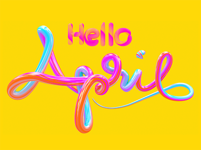 HELLO APRIL candy taffy c4d typography april hello