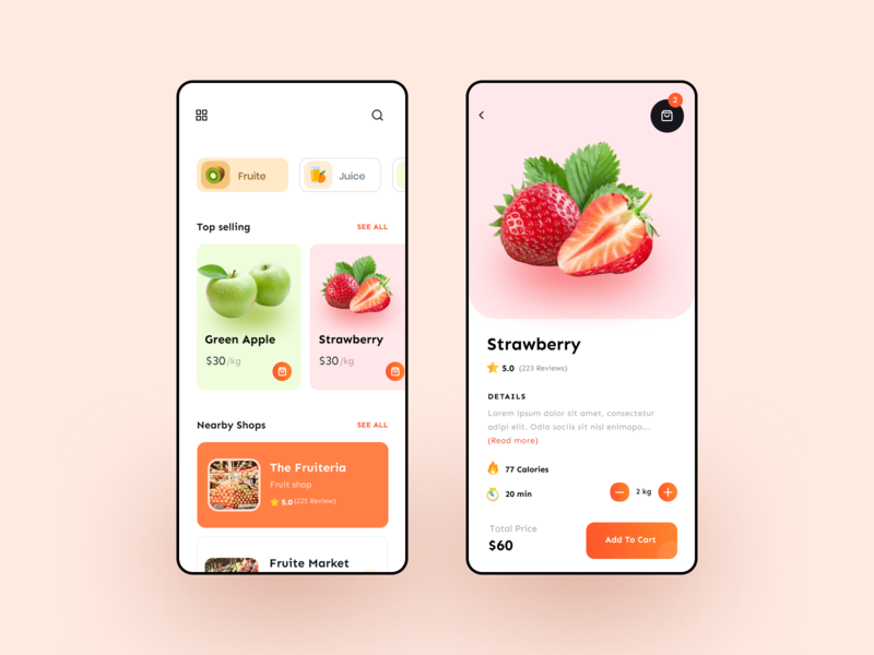 Food Ordering App clean fresh ux ui mobile app delivery ordering fruite