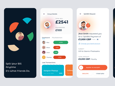Split Bill Mobile App finance pay bill transactions payment ux ui mobile app split bill share bill
