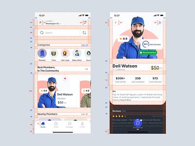 Service App design system grid job on demand service mobile app ui design layout minimal clean ux ui
