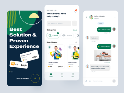 Service App minimal color clean ux ui mobile app ship job freelancer on boarding chat handy man service on demand