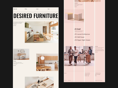 Furniture Web Layout | 4 Column Grid architecture ecommerce workshop office real estate shop interior interface web design website minimal typogaphy grid