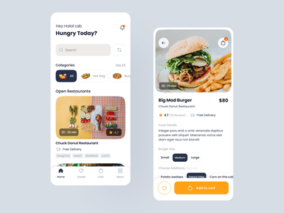 Food Ordering App booking restaurant ui mobile app delivery food