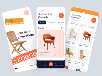 Furniture Mobile App ios app cart product shop brand style minimal clean innovative ui interior furniture app ecommerce shop shop mobile app ecommerce app ecommerce