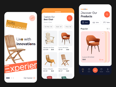 Furniture Mobile App ios app cart product shop brand style minimal clean innovative ui interior furniture app ecommerce shop shop mobile app ecommerce app ecommerce