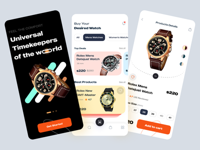 Watch App orange shop onboarding clean minimal ios app ux ui uiux mobile app ecommerce
