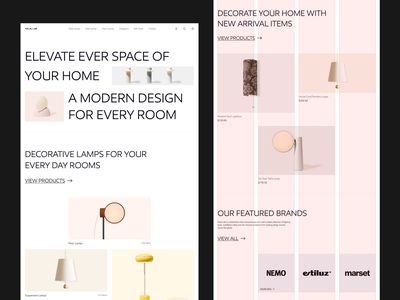 Lamps Store grid system typogaphy style layout store lamps clean ux ui uiux minimal web design shop ecommerce