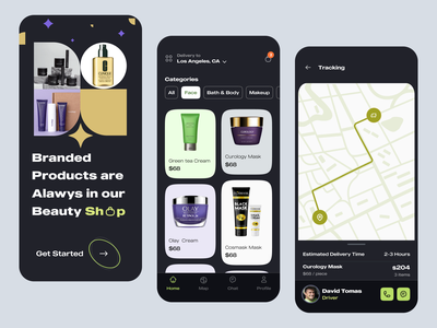 Beauty Product Mobile Apps welcome onboarding splash typogaphy service layout product page beauty app mobile app ecommerce shop minimal clean app ios app