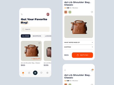 Bag Shop Mobile App details 2021 trend graphic design interface ecommerce shop halal lab orange simple search typogaphy ux ui clean minimal shopping app ios app mobile app ecommerce