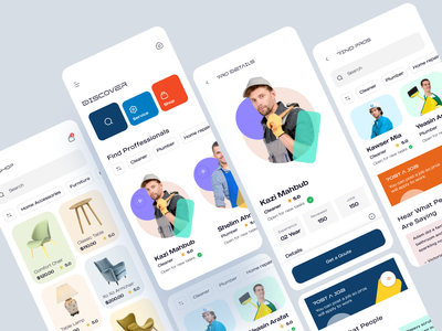Home Service Mobile App mobile app ux ui colors white blue orange accessories furniture app clean app service shop job hire handy man job seeker cleaner shopping ecommerce app