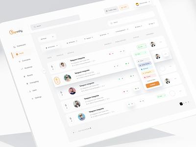 Upvoty Dashboard saas web app saas overview dashboard web app minimal table list poll vote clean ux ui