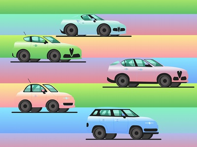 Cars Rainbow italy sketch vector gradient icon stelvio c8 mito 500 alfa romeo fiat cars