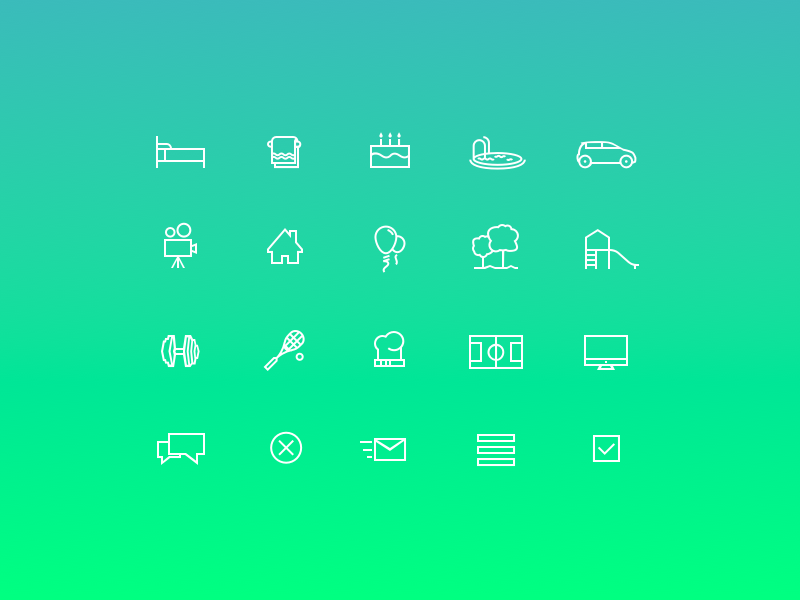 Icon set icon set vector icon icons squash bed car playground outline icons