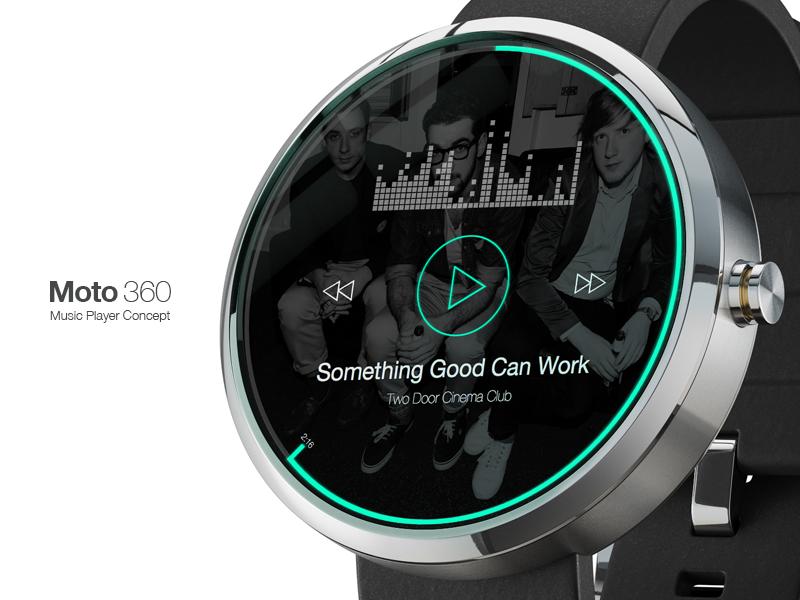 Moto 360 Music Player • Rebound ui interface ux iwatch watch google wear icons moto 360 music music player