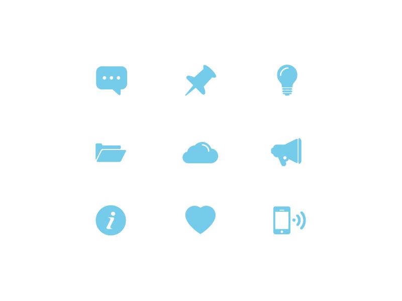 Free Icon Set #1 lamp rounded icons iconography call icon design set megaphone free ui cloud