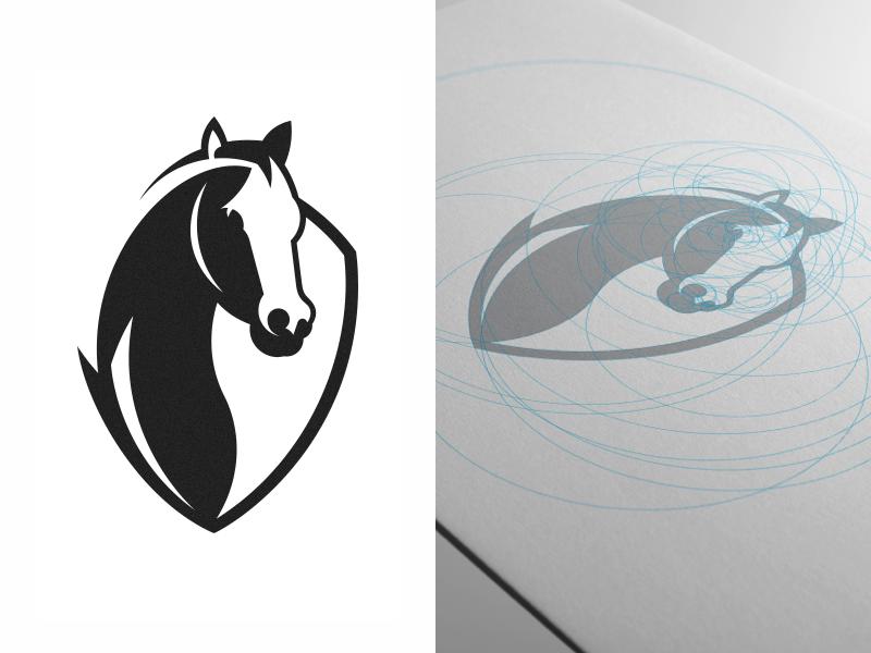 Logo design • Association of Jockeys grid horse symbol design brand logo