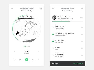Song App listing white play mobile design ui music minimal