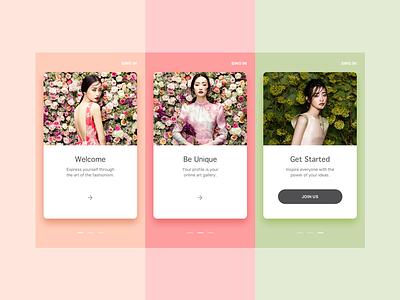 Fashion App flat app fashion ui design color card