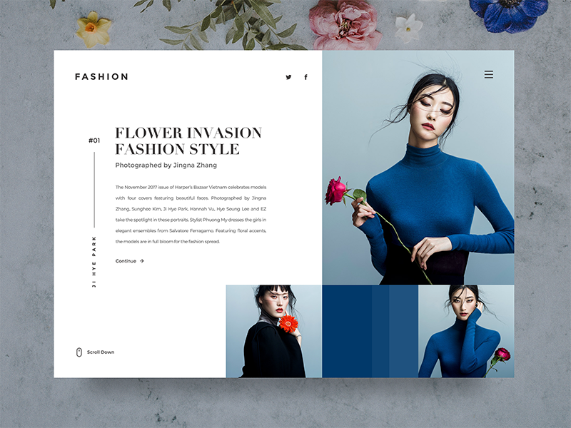 Fashion Web UI ♦ Experimental Work blue minimalist clean interaction web uiux ux fashion white interface ui
