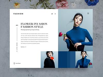 Fashion Web UI ♦ Experimental Work blue minimalist clean interaction web uiux ux fashion white interface ui