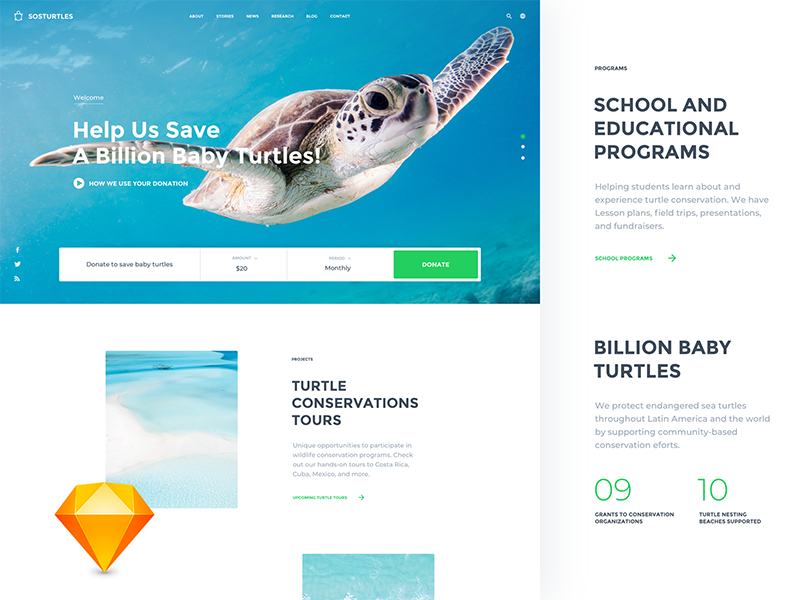 NGO Site ○ Freebie simple template theme site clean web blue ui sketch white freebie interface