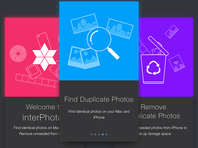 Onboarding screens for interPhotos app real app icon photo mac iphone app onboarding