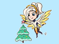 Sticker. Overwatch. Christmas