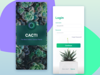 Cacti. Login. Signup. eCommerce shop ecommerce start screen signup login cactus cacti ux ui mobile iphone ios figma app