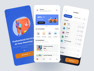 Service App app design minimal clean ui clean dry wash onboarding booking delivery pickup home cleaning car service car wash uiux on demand service on demand plumbing mobile app mobile ui laundry app cleaning app service app