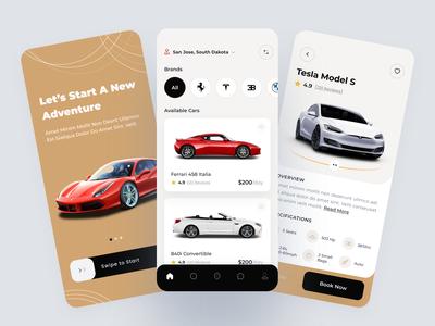 Car Rental Mobile App car car sharing car rental app ui tesla booking clean minimal app design mobile app ui clean ui uiux mobile app app ui car rendering luxury car car booking rental car car rental car rent