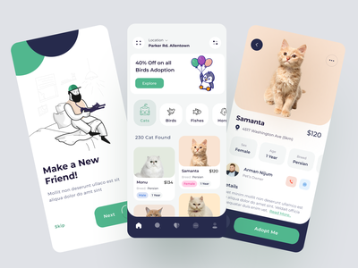 Pet Adoption Mobile App minimalist adoption pet adopt cat petstore uiux uidesign pet petshop pet app animals pets app clean ui pet shelter mobile ui mobile app pet adoption pet care