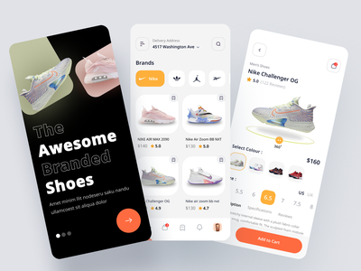 Shoe Store Mobile App shoe delivery mobile app design minimal fashion addidas nike shoe mobile app shoes app ui shoe store shoe app mobile app ui onboarding clean ui e-commerce clean ui app design mobile app uiux mobile ui