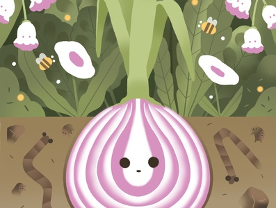 Onion character green design cute illustration