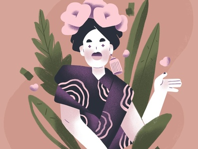 character design character design flower plants woman pink green flat design illustration character
