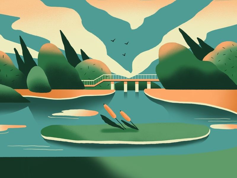 landscape tree green landscape procreate illustration
