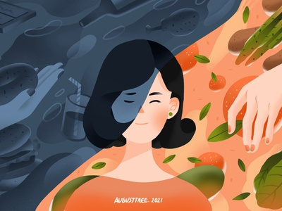 food and emotions procreate ipadpro fruit orange color food flat design character illustration