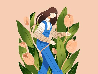 tulip procreate ipadpro tulip flower green flat design character illustration